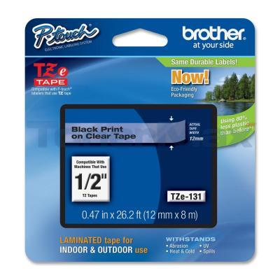 BROTHER TZ LAMINATED TAPE BLACK ON CLEAR 0.47 IN X 26.2 FT